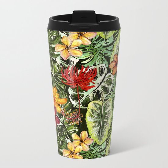 Tropical Vintage Exotic Jungle Flower Flowers - Floral watercolor pattern1on #Society6 Metal Travel Mug