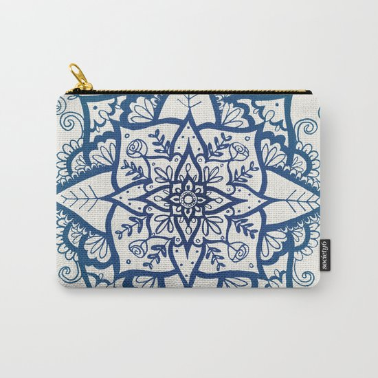 Blue Floral Pattern on Cream Carry-All Pouch