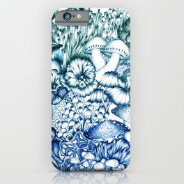 A Medley of Mushrooms in Blue iPhone Case