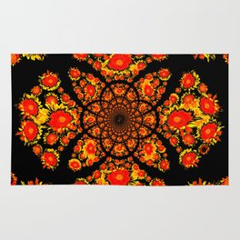 Abstracted Yellow-red Stylized Sunflowers Geometric Pattern Rug