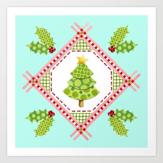 Aqua Holiday Polka Dot Tree Art Print