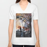 autumn V-neck T-shirts featuring Autumn rain - watercolor by Nicolas Jolly