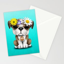 Cute British Bulldog Puppy Hippie Stationery Cards