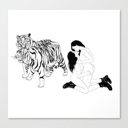 Tigers and kissing Girls Canvas Print