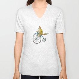 Kitty-fox riding a bike Unisex V-Neck