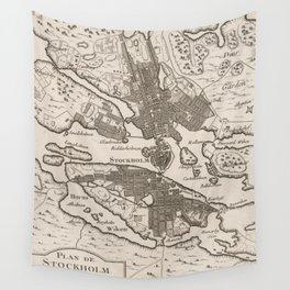 Vintage Map of Stockholm Sweden (1764) Wall Tapestry