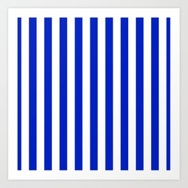 Cobalt Blue and White Vertical Beach Hut Stripe Art Print