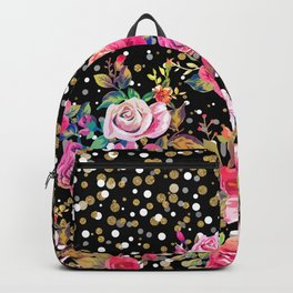Modern watercolor spring floral and gold dots pattern Backpack