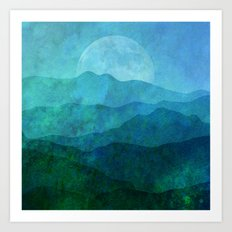 Blue Abstract Landscape Art Print
