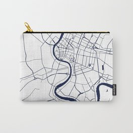 Bangkok Thailand Minimal Street Map - Navy Blue and White Carry-All Pouch