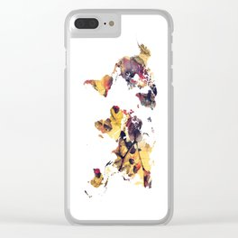 world map 78 yellow Clear iPhone Case