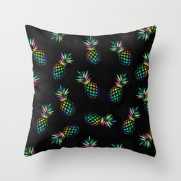 Iridescent pineapples Throw Pillow