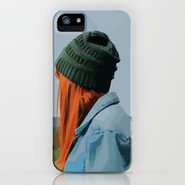 Red head girl with beanie and jeans jacket outdoors iPhone Case