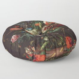 Jan Davidsz de Heem - Vase of Flowers Floor Pillow