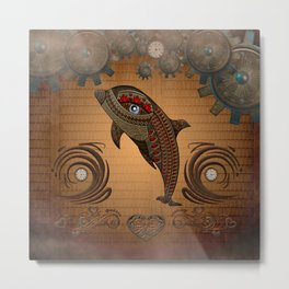 Steampunk, awesome steampunk dolphin Metal Print