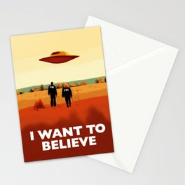 Mulder and Scully I want to believe poster Stationery Cards