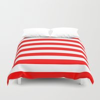 stripes Duvet Covers featuring Horizontal Stripes (Red/White) by 10813 Apparel