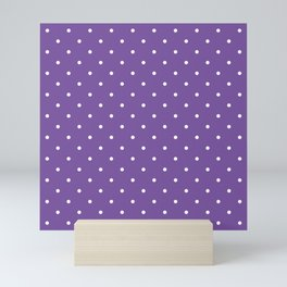 Small White Polka Dots with Purple Background Mini Art Print