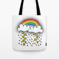 cunt Tote Bags featuring Cunt Storm by The Weirdoll Effect