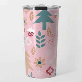 Cute Christmas in pink Travel Mug