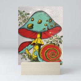 Snail and mushrooms Mini Art Print