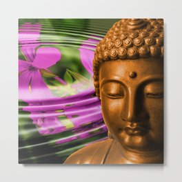 Buddha Head & Flowers in Rippling Water Metal Print