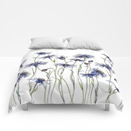 Blue Cornflowers, Illustration Comforters