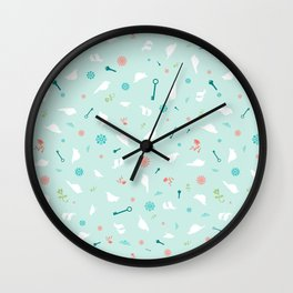 Birds in Silhouette on light blue Wall Clock