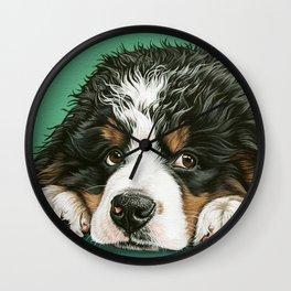 Cute Bernese Mountain Dog Puppy Pet Portrait Wall Clock