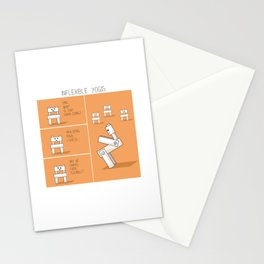 Funny yoga comic strip with chairs Stationery Cards
