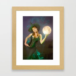 """Moonlighting"" - The Playful Pinup - Halloween Witch Pin-up Girl by Maxwell H. Johnson Framed Art Print"
