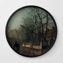 John Atkinson Grimshaw - A wet Moon, Putney Road - Victorian Retro Vintage Painting Wall Clock