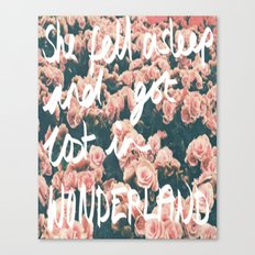 SHE FELL ASLEEP AND GOT LOST IN WONDERLAND Canvas Print