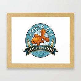 Golden God Amber Ale label Framed Art Print