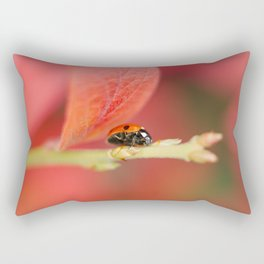Ladybug On An Autumn Leaf Rectangular Pillow