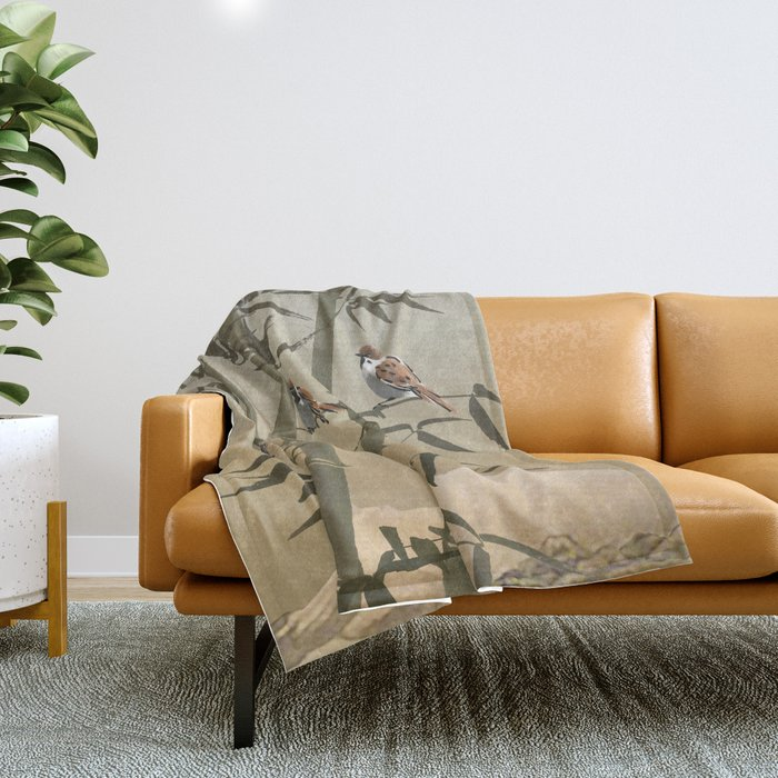 Sparrows And Bamboo Throw Blanket