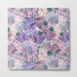 Purple and blue Lilac & Hydrangea - Flower Design Metal Print