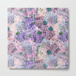 Purple and blue Lilac & Hydrangea - Flower Design Metal Print