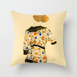 """Egon Schiele """"Standing Woman in a Patterned Blouse"""" Throw Pillow"""