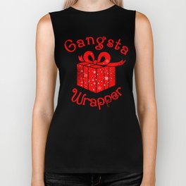 Gangsta Wrapper Christmas Holiday Gift Design Biker Tank