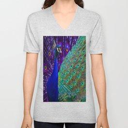 Purple-Blue Peacock & Tail Art Design Unisex V-Neck