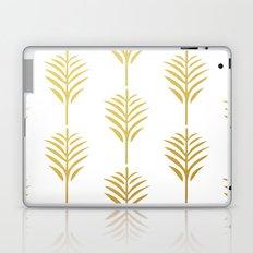 Golden Palm Leaves on White Laptop & iPad Skin