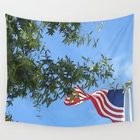 american flag Wall Tapestries featuring American Flag  by KCavender Designs
