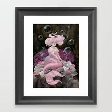 Pink and pearls mermaid Framed Art Print