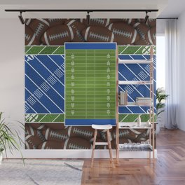 Blue Football Field and Footballs Wall Mural
