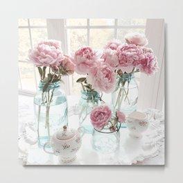 Shabby Chic Ethereal Pink Peonies Vintage Mason Ball Jars White Cottage Kitchen Art Tea Cups Peonies Metal Print