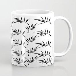 White and Black Leaf Design Coffee Mug