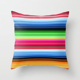 Mexican Serape Stripes Throw Pillow