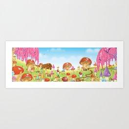 Mushroom fields panorama Art Print