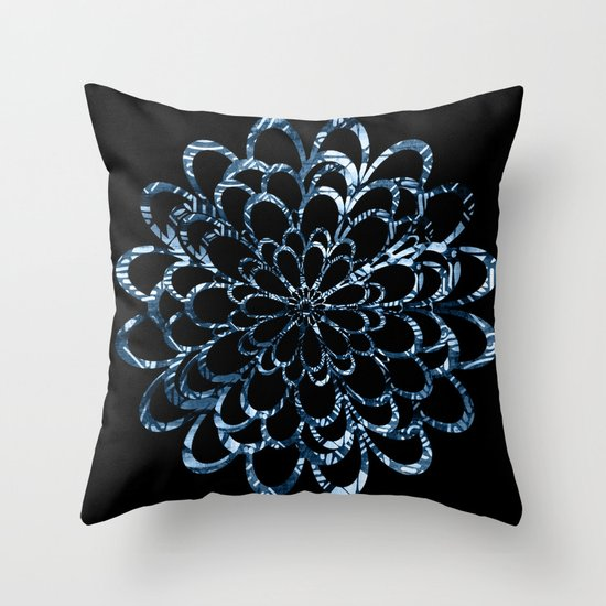 Ice Blue Throw Pillows : Ice Blue Floral Design Throw Pillow by Graphic Design Society6